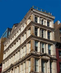 Before its award-winning renovation, the landmark building at 54 Bond Street in New York City's NoHo Historic District was beginning to show its years, with corrosion and rust bleed masking its intricate and beautiful ornamental 