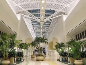 The skylight at the Intermodal Terminal Facility (ITF), Orlando International Airport, Florida, employs aluminum extrusions finished in a bright silver color using a 70 percent polyvinylidene fluoride (PVDF) resin-based coating system. Photo courtesy Acurlite Structural Skylights