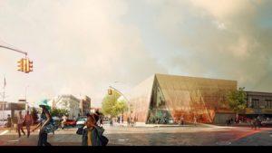 Rendering of the Snøhetta-designed Far Rockaway Public Library in New York. Photo courtesy Snøhetta