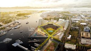 Rendering of the urban ballpark at Howard Terminal, California, for Oakland Athletics. The park will be designed by Bjarke Ingels. Photo courtesy Oakland Athletics