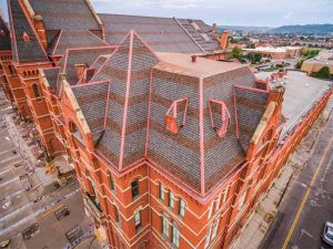 Built to withstand Cincinnati's wind, rain, and snow, the music hall is an example of shingles' durability and beauty. This project won the Asphalt Roofing Manufacturers Association's (ARMA's) 2018 QARC Gold Award. Photo courtesy CertainTeed Corporation