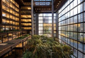 The redesigned New York City headquarters of the Ford Foundation features an indoor garden. Photo © Simon Luethi. Photo courtesy Ford Foundation