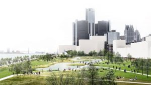 Detroit East Riverfront Framework Plan, in Detroit, by Skidmore, Owings & Merrill LLP, is one of the projects receiving the American Institute of Architects (AIA) 2019 Institute Honor Awards for Regional and Urban Design. Photo courtesy AIA