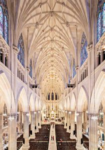 In addition to completing exacting preservation work at St. Patrick's Cathedral—including conservation of exterior and interior stone, wood, and plaster, as well as stabilization and conservation of stained glass—MBB worked with a multidisciplinary team to incorporate several new glass elements entirely integrated into the historic building. Photo © Floto+Warner