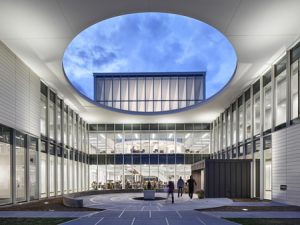 The new library at the Suffolk County Community College in Brentwood, New York, has an aluminum and glass curtain wall.