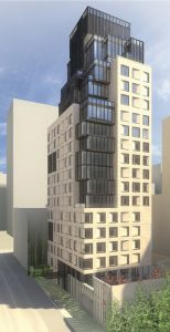 A rendering of Dahlia, a 20-story luxury residential tower in Manhattan. Image courtesy CetraRuddy
