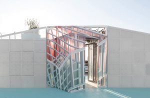 "The ""Mini Living Urban Cabin"", a site-specific installation addressing new models for living in the context of increased density, was designed by Brennan Buck and David Freeland of FreelandBuck, winner of the 2019 Emerging Voices award by the Architectural League of New York. Photo courtesy Architectural League of New York"