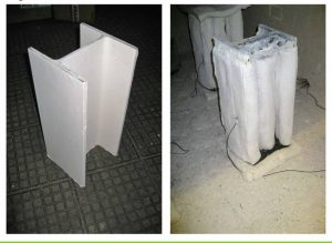 Figure 1 Intumescent coatings applied to a steel I-beam, or W-profile (left), create 