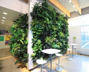 The Grand Rapids Downtown Market has an 18.5-m2 (200-sf) green wall. Their living wall system has removable planters. Changing plant varieties makes a green wall come alive with distinctly different looks. Photos courtesy LiveWall