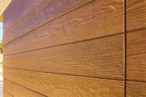 Fiber cement can be molded to resemble natural products such as wood.
