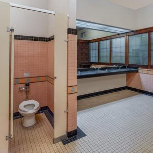 Los Angeles' historic Union Station has new flushometers in its restrooms to increase water efficiency. Photo © Jon Miller Architectural Photography