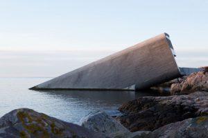 Half-sunken into the sea, Under by Snøhetta is Europe's first underwater restaurant. Photo © Inger Marie Grini/Bo Bedre Norge