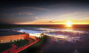 Rendering of the new $1.5-billion terminal project at Kansas City International Airport. Image courtesy KCI
