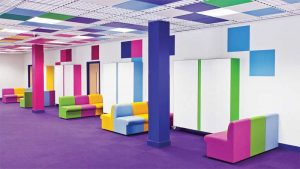 Figure 5: Color, texture, and the geometry of the suspension grid contribute to the appeal of ceiling panels. Photo courtesy Penryn College