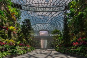 Singapore's Jewel Changi Airport, highlighted by the world's tallest indoor waterfall, is now open. Photo courtesy BuroHappold Engineering