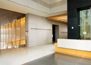 The San Francisco Public Utilities Commission (SFPUC) building achieves a neo-classical design with granite.