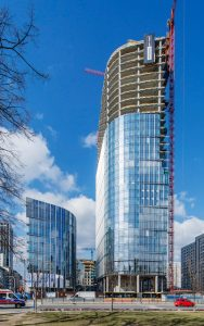 The Mennica Legacy Tower, a highly anticipated commercial high-rise in Warsaw, Poland, has topped off. Photo courtesy Goettsch Partners