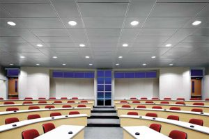Metal ceilings can provide very effective acoustical control in addition to their eye-catching aesthetics, making them a versatile and functional design element.