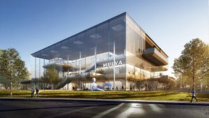 Rendering of the Mulva Cultural Center in De Pere, Wisconsin, that is begin designed by Skidmore, Owings & Merrill. Image courtesy Skidmore, Owings & Merrill