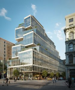 Proposed by Perkins+Will's New York studio, 799 Broadway's cascading terraces bring nature into the workplace in Manhattan, New York. Image © Binyan Studios. Image courtesy REA