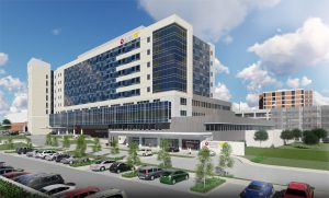 Shorb Tower, a nine-story patient tower at the Methodist University Hospital (MUH) in Memphis, Tennessee, is now complete. Image courtesy HKS Architects