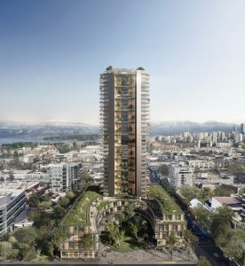 A Vancouver developer proposes the world's tallest wood tower. Image courtesy Perkins + Will