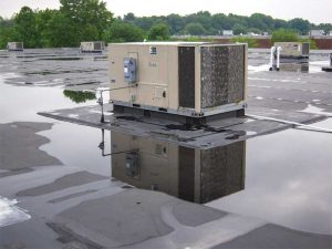 Figure 4: Pull-back view of an RTU. A well-defined waterway is missing in order to divert water to the nearest roof drain approximately 7.6 m (25 ft) away from the base curb.