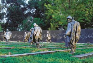 Granite from Clovis, California, was used for the Korean War Memorial's wall in Washington, D.C. Bands of polished granite accross the memorial's ground suggest the tilled terrain in parts of Korea.