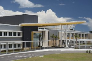 Metal panels were used to create a high-tech appearance for the energy-positive Myrtle Beach Middle School in Myrtle Beach, South Carolina. Photo courtesy hortonphotoinc.com