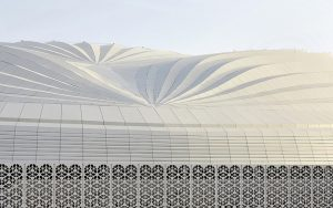 The design of the Al Janoub Stadium in Al Wakrah, Qatar, reflects the traditional boat of the region, the dhow. Photo © Hufton and Crow. Photo courtesy Zaha Hadid Architects