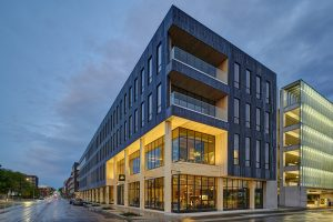 First-of-its-kind dowel-laminated timber (DLT) project in North America rises in Des Moines, Iowa. Photo courtesy Neumann Monson Architects