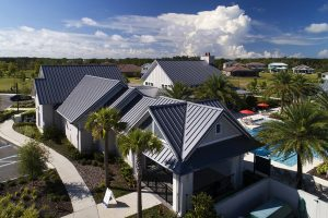 Florida clubhouse's metal roof adds to the community's 'front porch way of life.' Photo courtesy hortonphotoinc.com