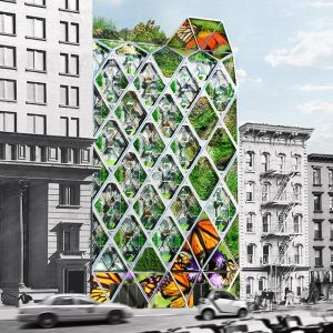 The Monarch Sanctuary in New York City is a mixed-use space that will also provide a bredding ground for the at-risk monarch butterfly. Image courtesy Mitchell Joachim/Terreform One