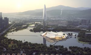 MAD Architects conceive the Yiwu Grand Theater in China as a boat floating on the river. Photo courtesy MAD Architects