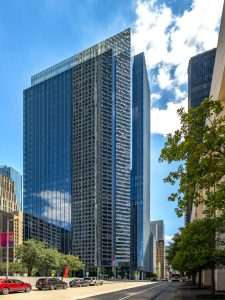 The Bank of America Tower in Houston, Texas, has earned the Leadership in Energy and Environmental Design (LEED) v4 Platinum certification for Core and Shell. Photo courtesy Walter P Moore