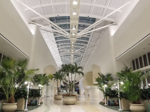 The Orlando International Airport's Intermodal Terminal Facility (ITF) used aluminum-framed segments to compose its skylight system. Photo courtesy Acurlite and Greater Orlando Aviation Authority