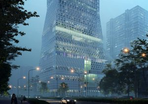 Rendering of Mecanoo's design for the Futian Civic Culture Center project in Shenzhen, China.