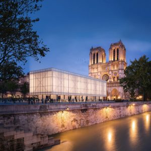 Gensler designs proposal for a temporary structure for worship and communal gathering at the iconic Notre Dame cathedral in Paris. Image courtesy Gensler