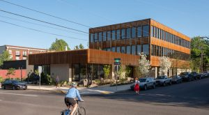 Timber used for the Nature Conservancy's (TNC's) Oregon headquarters in Portland was sustainably sourced from their regional restoration projects. Photo © Shawn Records