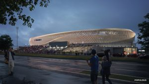 The new West End Soccer Stadium in Cincinnati, Ohio, features an expressive architectural form through a singular twisting motion. Image courtesy Populous