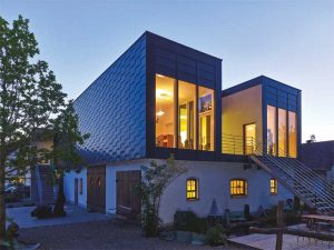 Zinc wall cladding products can maintain their performance with a potential lifespan of over 100 years, and remain 100 percent recyclable without the loss of existing properties. Photos courtesy RHEINZINK