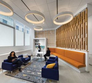 In the Staten Island Family Justice Center (New York), woodwork is in a soothing white oak with green accents to create a calming energy in both the waiting and children's play areas. Photos © Paul Rivera