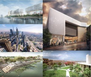 Clockwise: Badaevskij Brewery Redevelopment by Herzog & de Meuron and APEX Project Bureau, City Rail Link by Jasmax + Grimshaw, Prison Haren by Cafasso NV with B2Ai / EGM Architecten, Ulsoor Lake by Arup, and X-Space | Urban Fabric Regeneration by Verform. Images courtesy WAF