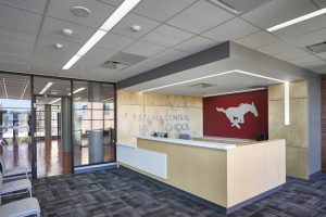 Salina Central High School in Salina, Kansas, used new stone wool ceiling systems to overcome acoustical challenges. Photo courtesy Rockfon