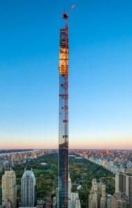 The 111 West 57th Street tower designed by SHoP Architects has topped out in New York City. Image courtesy Evan Joseph