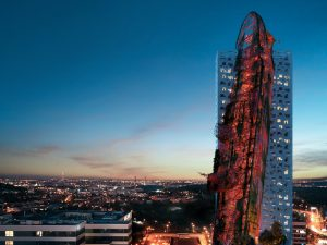 The 'shipwreck' tower in Prague, Czech Republic, could be the tallest in the country. Image courtesy Trigema