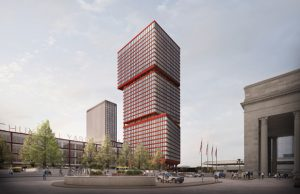 Brandywine Realty Trust and Practice for Architecture and Urbanism (PAU) reveal designs for the first two mixed-use towers in Schuylkill Yards, Philadelphia. Image courtesy PAU