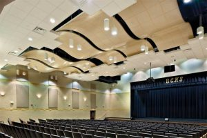 The main music rooms in education facilities have larger envelopes to provide the volume necessary for reverberation, but also have reflectors and diffusers suspended inside them to promote music strength and clarity simultaneously. Photo courtesy Robert Pepple/Pepple Photography