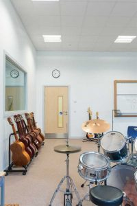 Music practice and rehearsal rooms require more sound absorption to help reduce loudness and hear the subtleties of playing. Photo courtesy Andrew Gransden