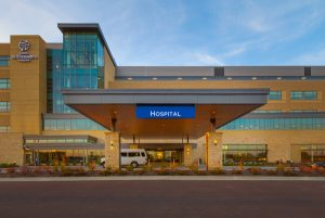 The patient-focused design of the St. Elizabeth's Hospital in O'Fallon, Illinois, offers more space, greater efficiencies, and a modern appearance. Photo © Matt Marcinkowski. Photo courtesy Rockfon